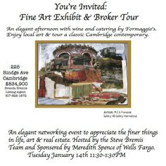 A Broker Tour featuring a Catered Luncheon AND Art Exhibit! With over 60 pieces of art by 6 featured local artists! Don't miss this brokers! Cambridge Ma, Youre Invited, Local Artists, Tours, Fine Art, Exhibit, Classic, Derby, Classical Music