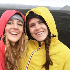 Two little skittles on a black sand beach  #Iceland #kway #europe #travel #traveling #bestfriends #traveller