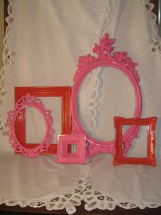 Fuschia / Hot Pink and Orange Ornate Upcycled Frame Set  - Gallery Wall Frame Collection - Open Back Frames - Nursery, Girl, or Dorm Decor. $48.00, via Etsy.