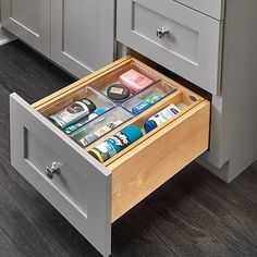 Rev-A-Shelf - Vanity Tiered Drawer Systems for Face Frame Cabinets - The Hardware Hut Vanity Drawers, Wood Drawers, Kitchen Drawers, Cabinet Drawers, Face Frame Cabinets, Base Cabinets, Drawer Inserts, Drawer Fronts, Makeup Drawer Organization