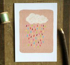 Rainbow Rain Cloud  5x7 Art Print by ellolovey on Etsy, $12.00