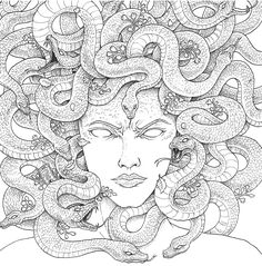 Medusa coloring page Truck Coloring Pages, Coloring Book Pages, Coloring Sheets, Medusa Kunst, Medusa Art, Medusa Drawing, Ant Drawing, Woman Drawing, Tatto Ink