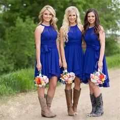 2017 Modest Short Bridesmaid Dresses Royal Blue Halter Neck Knee Length Ruffle Chiffon Plus Size Country Wedding Party Dresses Cheap Kelsey Rose Bridesmaid Dresses Lace Bridesmaids Dresses From Weepang, $69.15| Dhgate.Com