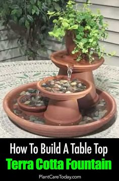 How To Build A Table Top Terra Cotta Fountain - Add the element and sound of water to your garden or patio without making a big monetary investment - Diy Water Fountain, Indoor Water Fountains, Garden Fountains, Fountain Garden, Outdoor Fountains, Garden Ponds, Koi Ponds, Indoor Fountain, Garden Crafts