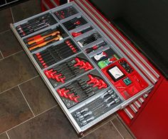 Organised tools. Having the discipline to do this would be good. I can never find anything because they are all on the floor and none in the trays.