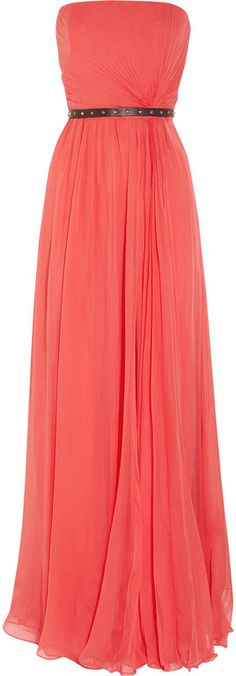 Gucci Belted Silk Chiffon Strapless Gown in Red (coral)