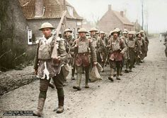 Battle of the Lys. British 55th Division troops marching through Bethune, Pas-de-Calais, France, on their way back from the front 10 April 1918.