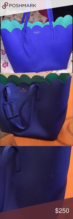 Kate spade lily avenue carrigan tote in blue So beautiful purchased in several colors and decided to get rid of the blue. There is a small scratch on the back and a small stain on the front both shown in photos. Neither is very noticeable I purchased from someone else this way. Just trying to make back what I paid. These are rare and sold out in stores kate spade Bags Totes