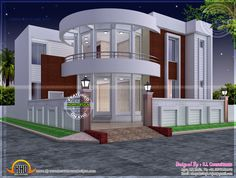 Round house design plans best of modern house plan with round design element kerala home Two Story House Design, 2 Storey House Design, Classic House Design, Duplex House Design, Simple House Design, House Front Design, Bungalow Haus Design, Modern Bungalow House, Round House Plans