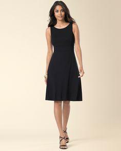 Sleeveless A-line Short Dress Black