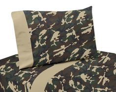Sweet Jojo Designs Camo Green Collection Sheet Set, Green Brown Olive Green And Camel