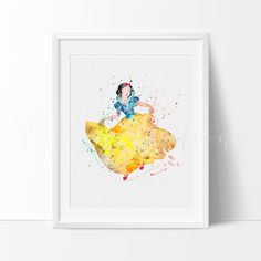 Snow White Princess Nursery Art Print Wall Decor. Our designs make an attractive, modern contemporary wall piece for your baby nursery, home, office or even as a gift.
