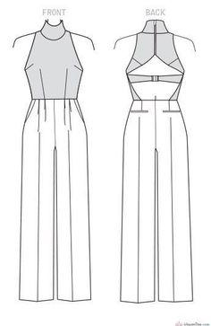 Vogue Pattern Misses' Open-Back, Belted Jumpsuit - pattern - Fashion Design Sketchbook, Fashion Design Drawings, Fashion Sketches, Fashion Sewing, Diy Fashion, Ideias Fashion, Fashion Flats, Vogue Sewing Patterns, Clothing Patterns