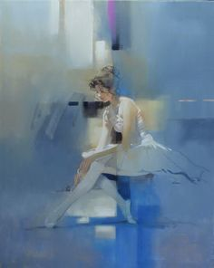 Seated Dancer - Oil on Canvas 30x24 - Richard S. Johnson - Addison Art Group