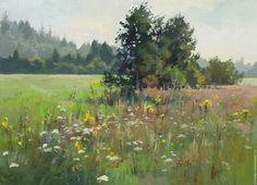 Купить Июль - ярко-зелёный, лето, солнце, жара, полевые цветы, июль, поле, травостой