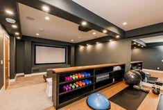 Home Gym Basement, Gym Room At Home, Cozy Basement, Home Gym Garage, Basement Remodel Diy, Basement Furniture, Basement Makeover, Basement Renovations, Modern Basement