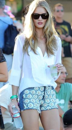 Rosie Huntington-Whiteley took festival fashion to the next level in J BRAND x Christopher Kane embellished cut-offs.
