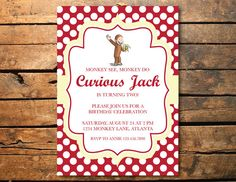 Curious george birthday party invitation by stillriverpress curious george birthday party invitation by stillriverpress curious george pinterest curious george birthday curious george and party invitations filmwisefo