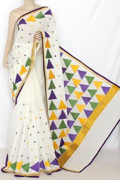 Off-White Multi-color Embroidered Kerala Cotton Handloom Saree (With Blouse) 13783 T Shirt Painting, Fabric Painting, Sweets Online, Fabric Paint Designs, Ac2, Hand Embroidery Dress, Kerala Saree, Cotton Sarees Online, Handloom Saree