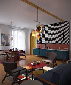 3 Amazing Studio Apartments That Create With Interesting Spring Accent Design and Beautiful Color - decoration Home Design, Futuristisches Design, Design Ideas, Apartment Decoration, Apartment Design, Apartment Kitchen, Design Living Room, Living Room Decor, Living Rooms
