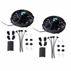 "2x 7"" inch Universal Slim Fan Push Pull Electric Radiator Cooling 12V Mount Kit #radiator #cooling #mount #electric #pull #universal #slim #push #inch"