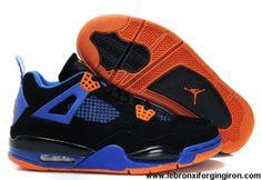 Latest Listing Cheap Air Jordan 4 (IV) Fluff Black/Orange Blaze-Old Royal Shoes Shop