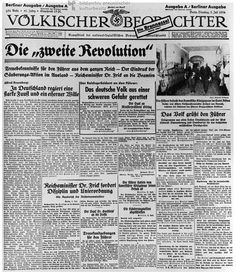 The Front Page of the Völkischer Beobachter Justifies the Purge in Response to the So-Called Röhm Putsch (July 3, 1934)