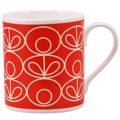 Orla Kiely, Linear Flower Red Mug