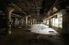 Large Room in an Abandoned Industrial Building Stock Photo