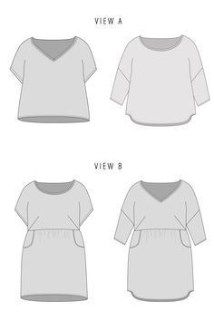 The Fen sewing pattern by Fancy Tiger is a boxy top or dress with a scoop or v-neck and two hem options.