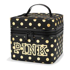 PINK Train Case (42 SGD) ❤ liked on Polyvore featuring beauty products, beauty accessories, bags & cases, bags, makeup et yellow