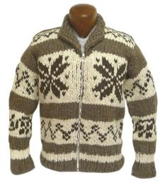 COWICHAN SWEATER - the additional white band could be added to mine if I want to extend the length Crochet Fabric, Knit Crochet, Knitting Designs, Knitting Projects, Weaving Patterns, Knitting Patterns, Sweater Coats, Men Sweater, Cool Sweaters