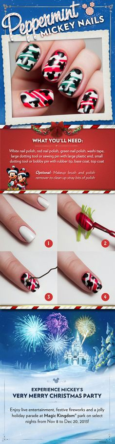 Peppermint Mickey nail art