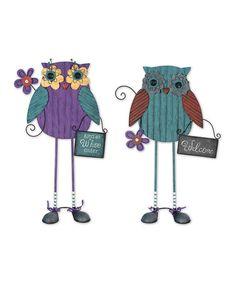 Look at this #zulilyfind! Purple & Teal Owl Garden Sculpture Set #zulilyfinds