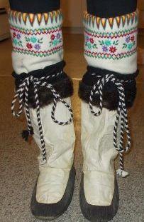 Inuit made sealskin kamiks w/ beautiful embroidered duffle socks via Keith Oqallak