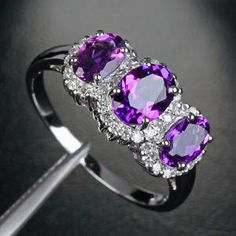 Diamond Engagement Rings With Amethyst Side Stones 8