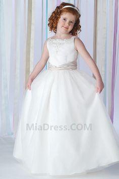 Satin Hiver Princesse Broderie Robe de Communion