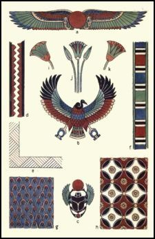 Ancient Egyptian Decorative Ornament. The Decorative ornament plate shown left has typical Egyptian style patterns. The vulture, scarab beetle, fanned wings and lotus flowers are seen as often as the cobra featured on the coffin lower down the page.