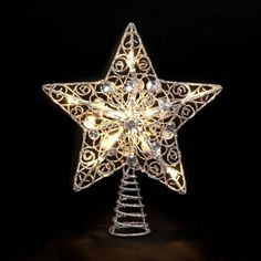Lighted Gold Star Christmas Tree Topper