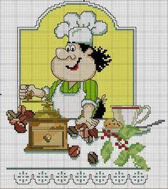 Schema punto croce Cuoco con il macinino | Hobby lavori femminili - ricamo - uncinetto - maglia