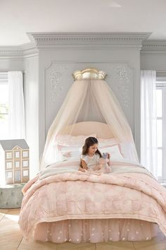 Create an enchanted sleep space with this quilted bedding, inspired by the subtle floral patterns of vintage lace. Boasting pintuck accents, the quilt is a welcoming layer. Designed with world-renown fashion designer Monique Lhuillier, it marries function Quilt Bedding, Girl Bedding, Bedding Sets, Little Girl Rooms, New Room, Dream Bedroom, Fairytale Bedroom, Magical Bedroom, Kids Room
