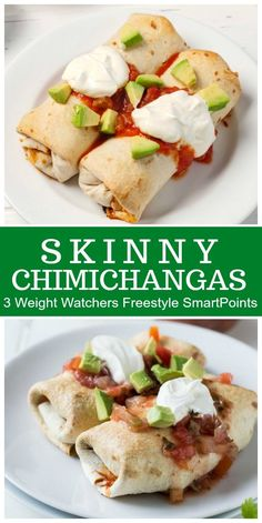 Skinny Chimichangas- baked, not fried! Recipe from RecipeGirl.com : #weightwatchers #SmartPoints #wwfreestyle