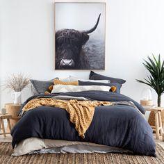 Linen Bedroom, Home Decor Bedroom, Master Bedroom, Bed Linen, Charcoal Bedroom, Navy Bedrooms, Home Cooler, Bedroom Layouts, Quilt Cover Sets