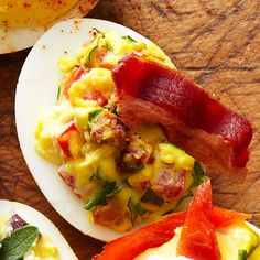 Put a BLT-inspired spin on deviled eggs by adding bacon pieces, snipped fresh basil, and sliced cherry tomatoes to your filling. We love adding extra bacon as a topper. Egg Recipes, Brunch Recipes, Cooking Recipes, Brunch Ideas, Party Recipes, Cooking Tips, Yummy Appetizers, Appetizer Recipes, Deviled Eggs