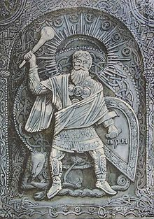In Slavic mythology, Perun (Cyrillic: Перун) is the highest god of the pantheon and the god of thunder and lightning. His other attributes were fire, mountains, the oak, iris, eagle, firmament (in Indo-European languages, this was joined with the notion of the sky of stone), horses and carts, weapons (the hammer, axe (Axe of Perun) and arrow) and war.