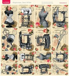 Vintage pictures love sewing rooms new Ideas Vintage Labels, Vintage Ephemera, Vintage Cards, Vintage Paper, Vintage Clip Art, Images Vintage, Vintage Pictures, Antique Sewing Machines, Vintage Sewing Patterns