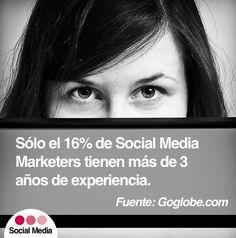 Sólo el 16% de Social Media Marketers tienen más de 3 años de experiencia Social Media, Socialism, Social Networks, Social Media Tips
