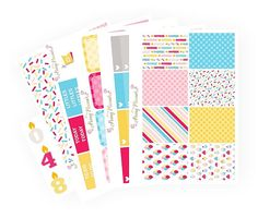 Birthday Full Kit with Candles | Erin Condren Planner Stickers