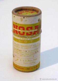 Antiguo envase de insecticida en polvo DDT NOSA. Farmacia, droguería.