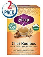 Yogi Organic Herbal Tea Caffeine Free Chai Rooibos  16 Tea Bags Each  Pack of 2 *** Learn more by visiting the image link. Note: It's an affiliate link to Amazon.